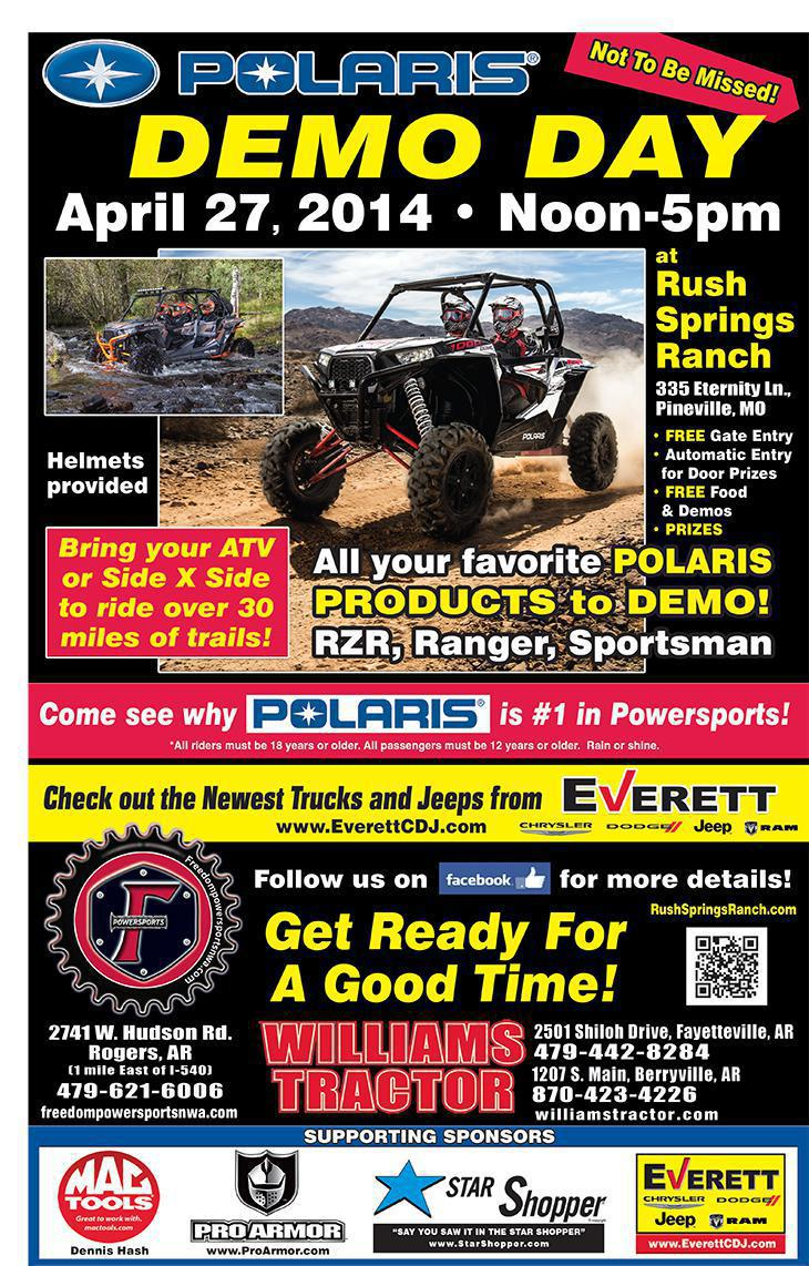 Polaris Demo Day April 27, 2014. Noon-5pm at Rush Springs Ranch
