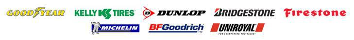 We carry tires from Goodyear, Dunlop, Kelly, Michelin®, BFGoodrich®, Uniroyal®, Bridgestone, and Firestone.