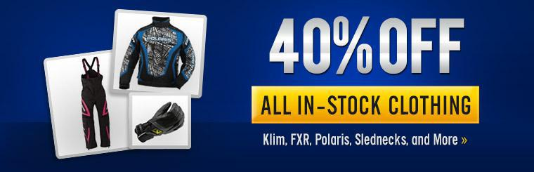 Get 40% off all in-stock clothing from brands like Klim, FXR, Polaris, Slednecks, and more!