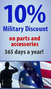 10% Military discount on parts and accessories - 365 days a year