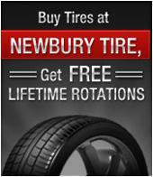 Buy Tires at Newbury Tire, Get Free Lifetime Rotations.