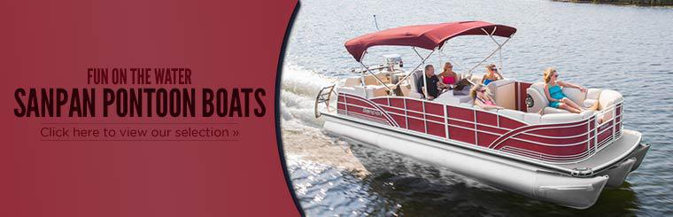 Have fun on the water on a Sanpan pontoon boat! Click here to view our selection.