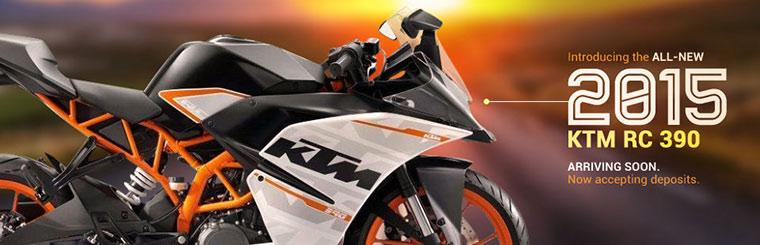 Introducing the all-new 2015 KTM RC 390. Click here to contact us for details.