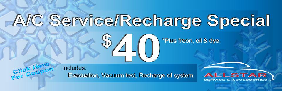 A/C Service/Recharge Special Allstar Service Center 218.279.5200
