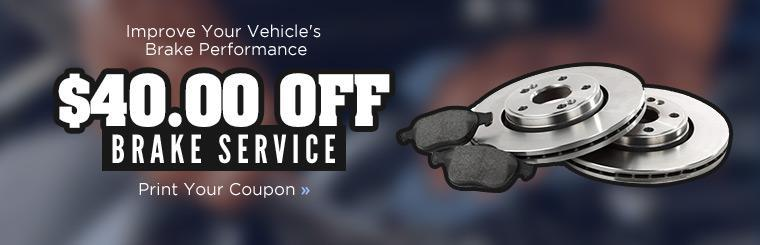 Get $40.00 off brake service! Click here to print the coupon.