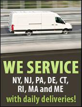 We service NY, NJ, PA, DE, CT, RI, MA, and ME with daily deliveries.