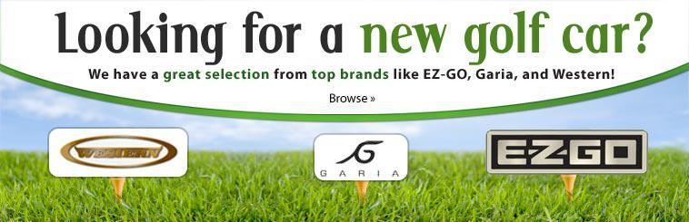 Looking for a new golf car? We have a great selection from top brands like EZ-Go, Garia, and Western!