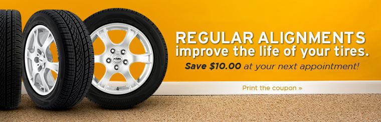 Regular alignments improve the life of your tires. Save $10.00 at your next appointment! Click here to print the coupon.