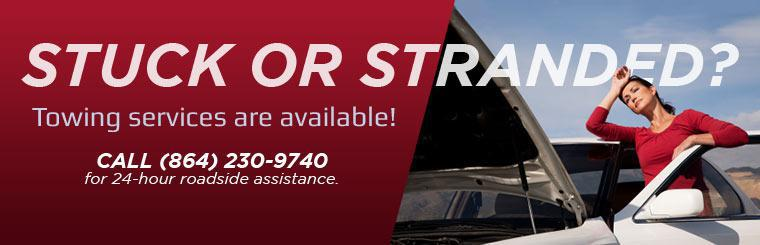 Towing services are available! Call (864) 230-9740 for 24-hour roadside assistance.
