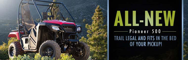 The 2015 Honda Pioneer 500 is trail legal and fits in the bed of your pickup!