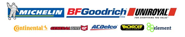 We proudly carry products from Continental, General Tire, Michelin®, BFGoodrich®, Uniroyal®, AC/Delco, Monroe, and Element.