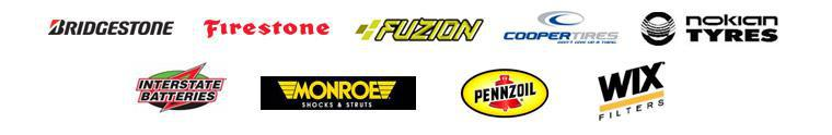 We carry products from Bridgestone, Firestone, Fuzion, Cooper, Nokian, Interstate Battery, Monroe shocks and struts, Pennzoil, and Wix Filters.