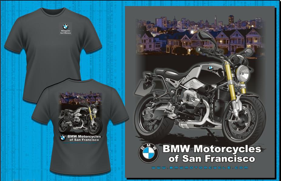 bmwmcsf r ninet 'painted ladies' t-shirt for sale in san francisco