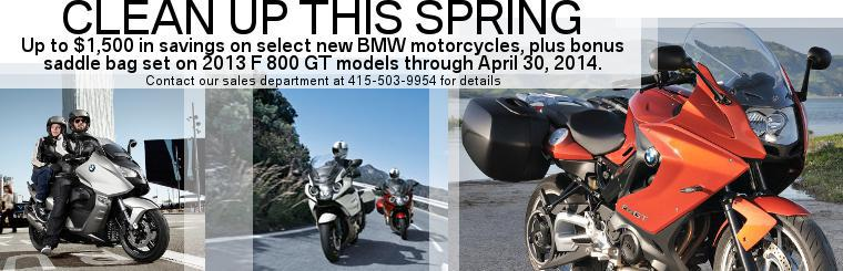 March and April promotions for select new BMW Motorcycles. FREE SADDLE BAGS ON 2013 F 800 GT's!