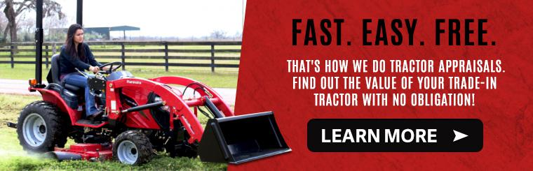 Safeway Mahindra does free tractor appraisals for trade-in values.
