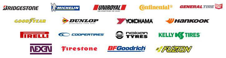 We carry Bridgestone, Michelin®, Uniroyal®, Continental, General Tire, Goodyear, Dunlop, Yokohama, Hankook, Pirelli, Cooper, Nokian, Kelly, Nexen, Firestone, BFGoodrich®, and Fuzion.