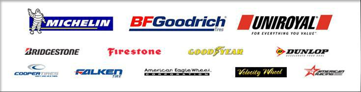 We proudly offer products from Michelin®, BFGoodrich®, Uniroyal®, Bridgestone, Firestone, Goodyear, Dunlop, Cooper, Falken, American Eagle Wheels, Velocity Wheel, and American Racing.