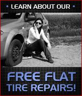Click here to learn about our free flat tire repairs!