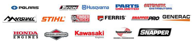 We carry products from Polaris, Triton Trailers, Husqvarna, Parts Unlimited, Automatic Distributors, Marshall, Stihl, Timber Wolf, Ferris, Snapper Pro, Generac, Honda Engines, Briggs & Stratton, Kawasaki Engines, Tecumseh Power, and Snapper.