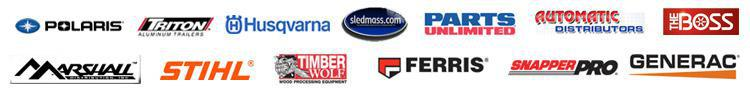 We carry products from Polaris, Triton Trailers, Husqvarna, Sledmass.com, Parts Unlimited, Automatic Distributors, The Boss, Marshall, Stihl, Timber Wolf, Ferris, Snapper Pro, and Generac.