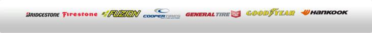 We carry products from Bridgestone, Firestone, Fuzion, Cooper, General, Goodyear, and Hankook.