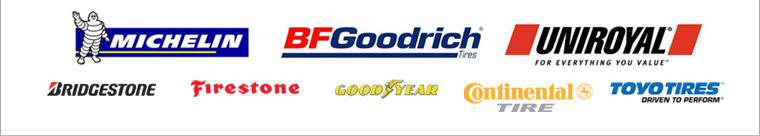 We carry products from Michelin®, BFGoodrich®, Uniroyal®, Bridgestone, Firestone, Toyo, Goodyear, and Continental.