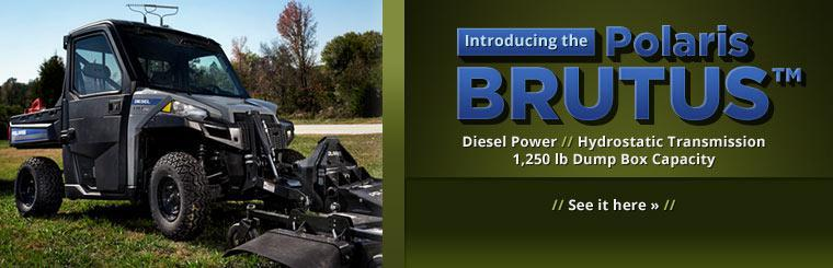Introducing the Polaris BRUTUS™. Diesel Power with hydrostatic transmission and a 1,250 lb dump box capacity. Click here to check it out.