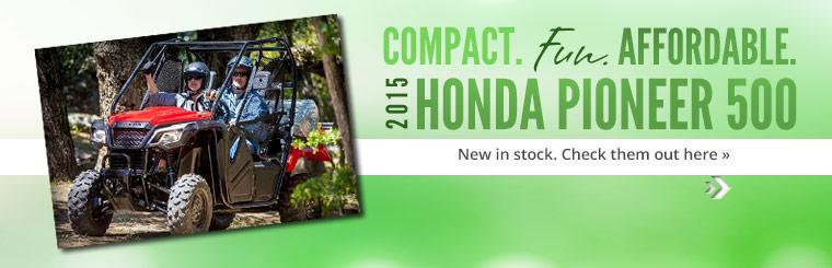 2015 Honda Pioneer 500 is new in stock. Click here to check them out.