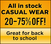 All in stock casual wear 20-75% off!