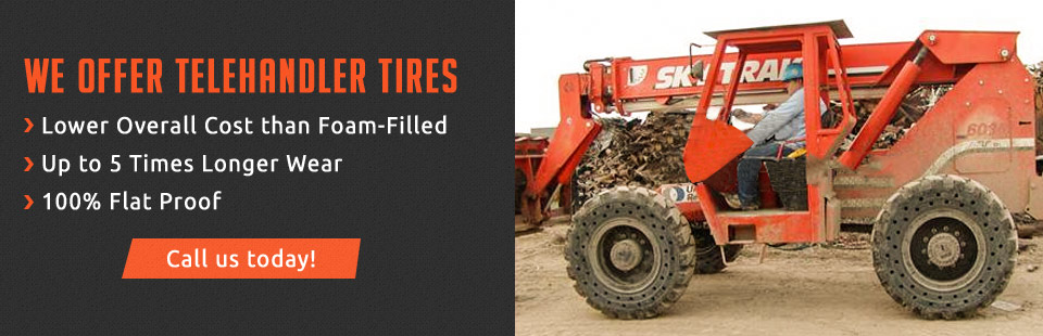 Telehandler Tires offer a lower overall cost than foam-filled tires with up to 5 times longer wear! Click here for details.