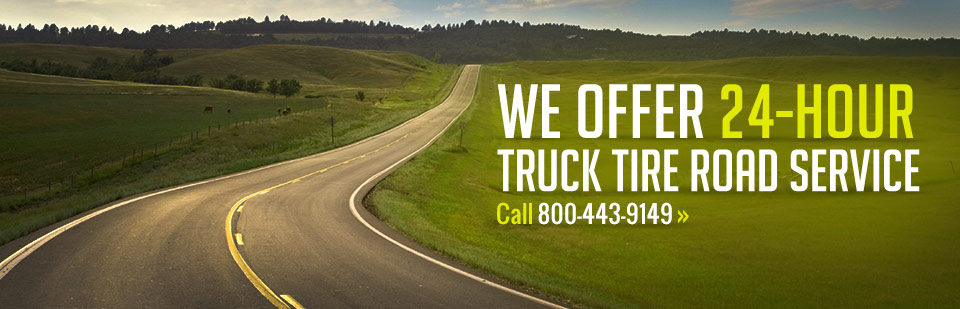 We offer 24-hour truck tire road service! Call 800-443-9149 or click here to contact us.