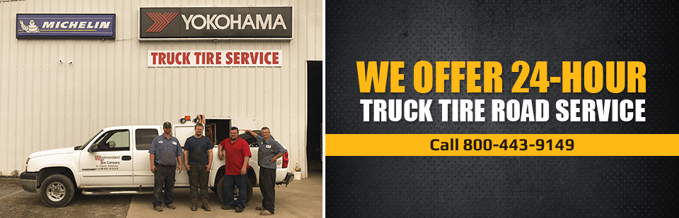 We offer 24-hour truck tire road service! Call 800-443-9149 for assistance.