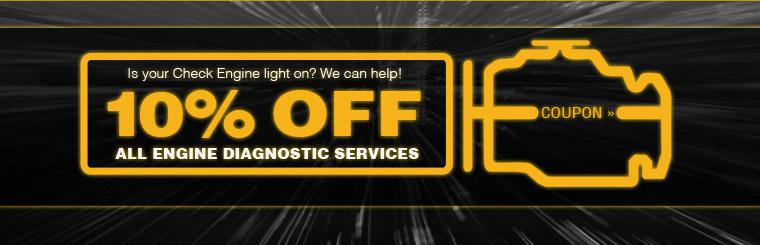 Is your Check Engine light on? We can help! Take 10% off all engine diagnostic services! Click here for a coupon.