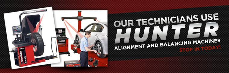Our technicians use Hunter alignment and balancing machines. Stop in today!
