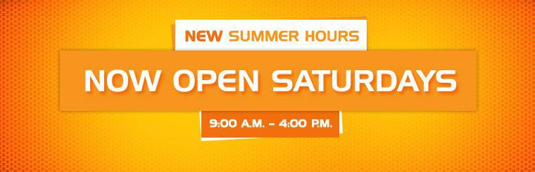 We have new summer hours! We are now open on Saturdays from 9:00 a.m. to 4:00 p.m.