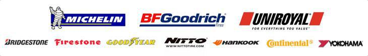 We carry Michelin®, BFGoodrich®, Uniroyal®, Bridgestone, Firestone,  Yokohama, Goodyear, Hankook, Continental, and Nitto.