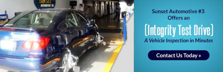 Sunset Automotive #3 offers an integrity test drive. Get a vehicle inspection in minutes! Contact us today for details.