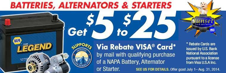 Rebates/ Sale Car Battery, Alternators & Starters