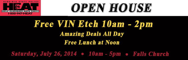 Open House and Free VIN Etch, Saturday, the 26th