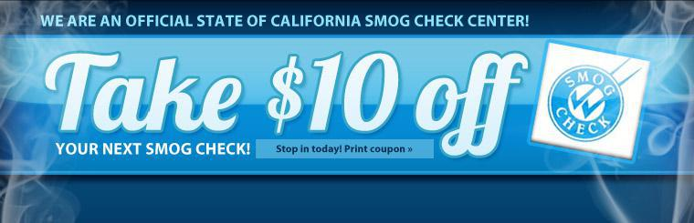 $10 off your next smog check!