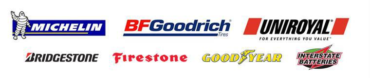 We carry products from Michelin®, BFGoodrich®, Uniroyal®, Bridgestone, Firestone, Goodyear, and Interstate Batteries.