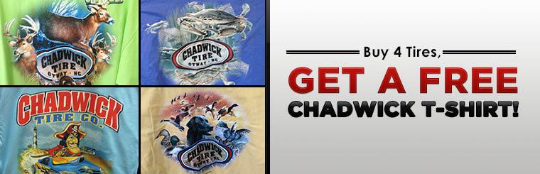 Buy four tires and get a free Chadwick t-shirt! Click here for the coupon.
