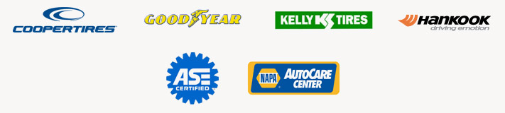 We carry products from Cooper, Goodyear, Kelly, and Hankook.  Our technicians are ASE certified. We are a NAPA AutoCare Center.
