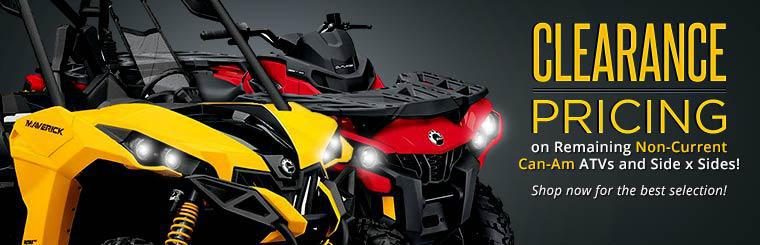 Get clearance pricing on remaining non-current Can-Am ATVs and side x sides! Click here to shop now.