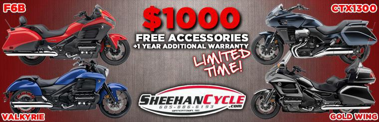 Free Accessories and Warranty on Gold Wing F6B Valkyrie CTX1300 at Sheehan Cycle Watertown South Dakota. All touring and cruisers on sale