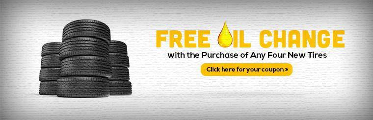 Get a free oil change with the purchase of any four new tires! Click here for your coupon.