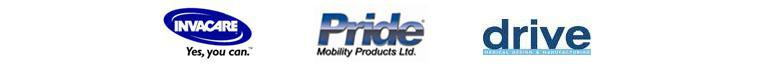 We carry products from Invacare, Pride, and Drive.