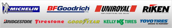 We proudly offer products from: Michelin®, BFGoodrich®, Uniroyal®, Riken, Bridgestone, Firestone, Goodyear, Kelly Tires and Toyo.