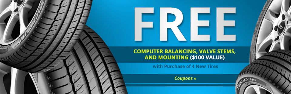 Get a free computer balancing, valve stems, and mounting ($100 value) with the purchase of four new tires! Click here to print your coupon.