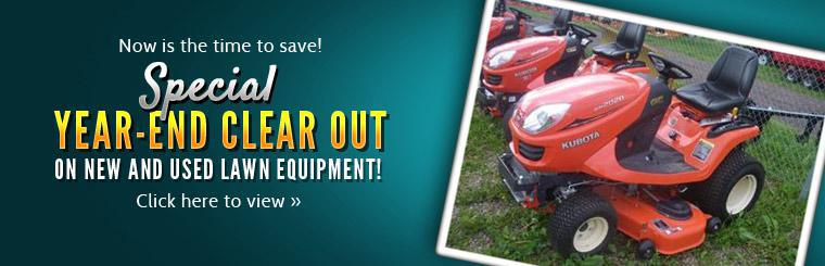 Now is the time to save! Special year-end clear out on new and used lawn equipment! Click here to view our selection.